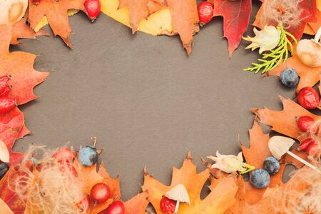 Autumn background with beautiful leaves, rosehips, walnuts, forest mushrooms on an old dark table. Mockup for seasonal offers and a holiday card. 免版税图像