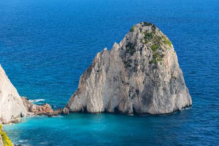 The Mizithres, small and big. Amazing rock formations on Keri cape, Zakynthos island. Greece. 免版税图像