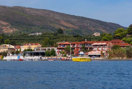Agios Sostis, Zakynthos Island, Greece September 24, 2017: View from the sea to the beach of Agios Sostis, Zakynthos Island, Greece.Typical island architecture.