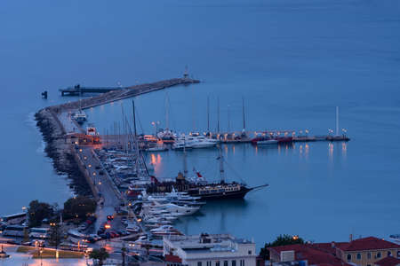 Aerial night view of Zakynthos (Zante) town. Beautiful cityscape panorama of Greece city. Traveling concept background.