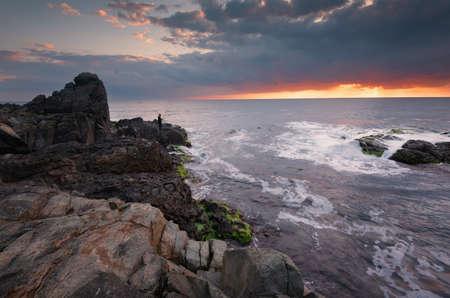 Sea sunrise at the Black Sea coast.
