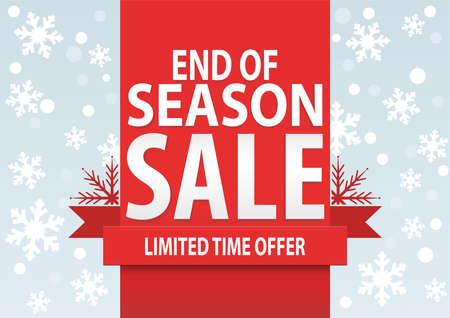 estaciones del a�o: Cartel de la venta; final de la temporada de venta con copos de nieve blancas estilizadas, ilustraci�n vectorial