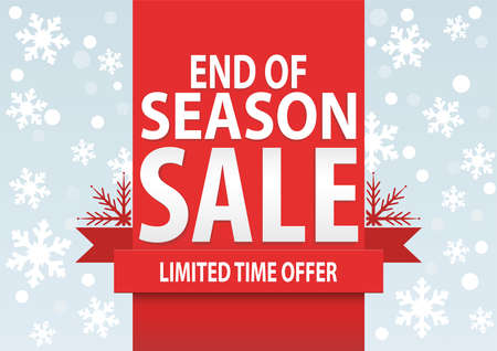 winter sales: Sale poster; end of season sale with stylized white snowflakes, vector illustration