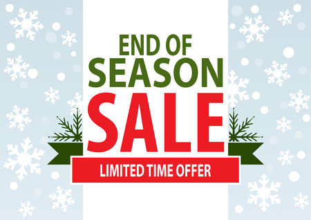seasons: Sale poster; end of season sale with stylized white snowflakes, vector illustration