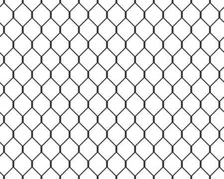 penal: Wire fence seamless texture black silhouette, vector illustration