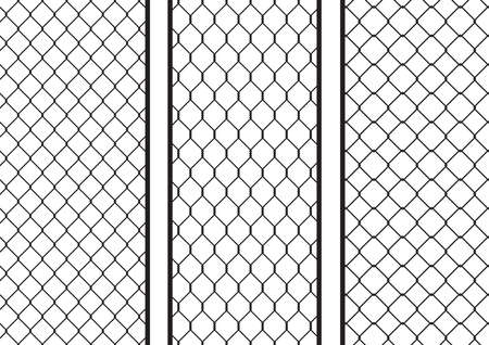 penal: Wire fence setpack; seamless texture black silhouette setpack, vector illustration