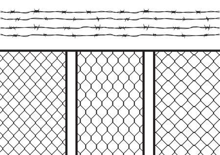 barb wire isolated: Wire fence set  pack with barb wire  barbed wire, seamless texture black silhouette; brush template, isolated black silhouette on white background, vector illustration