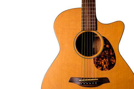 music lyrics: Una guitarra acústica de orquesta con corte.