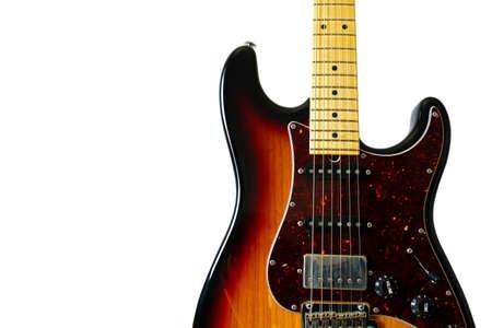 music lyrics: Guitarra eléctrica del estilo del ST aislada del fondo blanco.