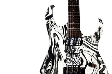 music lyrics: Guitarra eléctrica del estilo de la roca aislada del fondo blanco. Foto de archivo