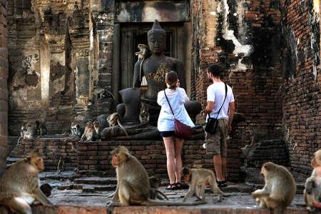 LOPBURI, THAILAND - NOV 26: Tourists are watching monkeys with old buddha on November 26, 2016 in Lopburi, Thailand.