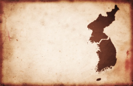 Old Vintage Map of North and South Korea photo