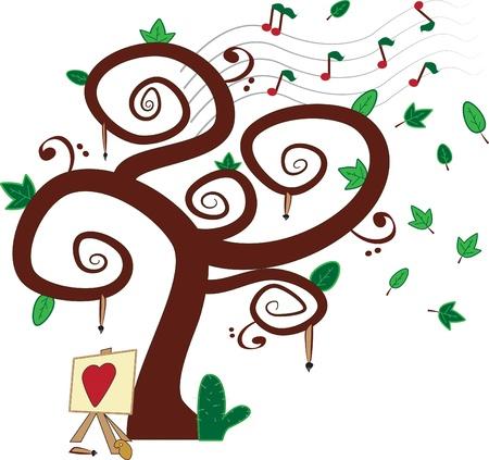 clave de fa: �rbol con las notas, Clave de Fa y los pinceles, un lienzo con el coraz�n y un cactus en el suelo
