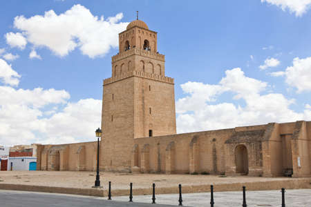 kairouan: The Great Mosque of Kairouan in Tunisia Stock Photo