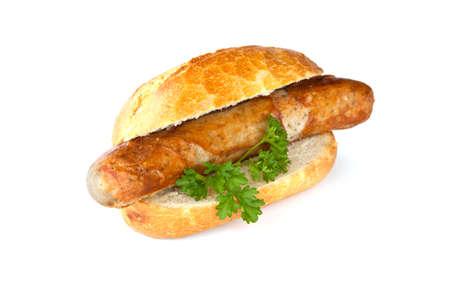 Bratwurst - worst, brood en groene peterselie