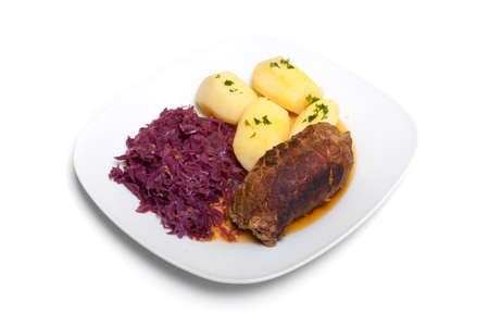 roulade: Roulade with red cabbage and potatoes