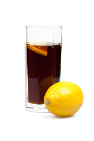 glass with cola and lemon, isolated