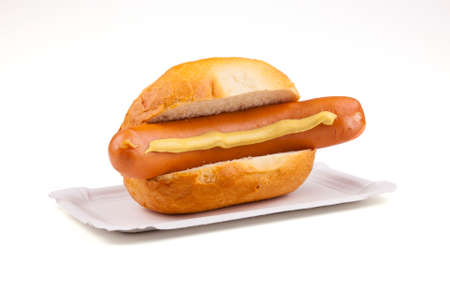 roster: Sausage; Rolls; Mustard; Cooked sausage; Vienna; Bratwurst; Roster; Rostbratwurst; fry; barbecue - German food Stock Photo