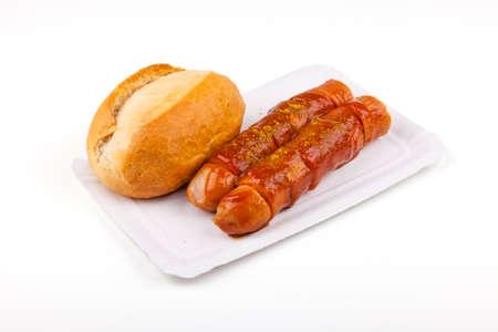 comida alemana: currywurst, salchichas, panecillos, salchicha, mostaza, curry - comida alemana