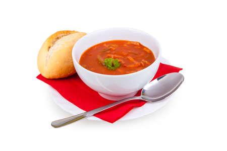 tomate: Soljanka, soupe, tasse, de la nourriture, de la soupe, le persil, le pain, le ragoût Banque d'images