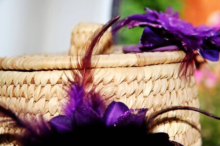 Rattan basket with flowers