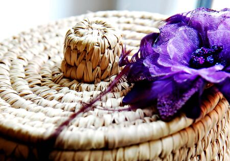 Natural rattan basket with flower Stock Photo