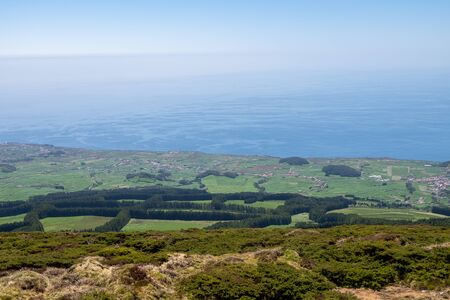 Panoramic view to Terceira island coastline from Santa Barbara viewpoint at Azores, Portugal