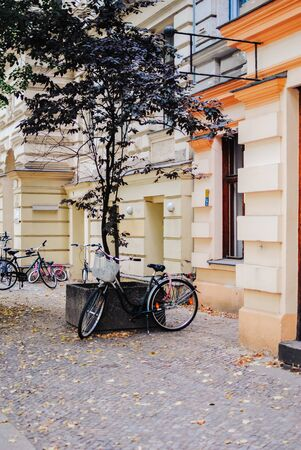 A few bicycles in a street of Berlin, Germany