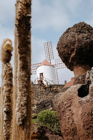 Guatiza, Spain - September 6, 2017: cactus garden on Lanzarote island that was designed by Cesar Manrique