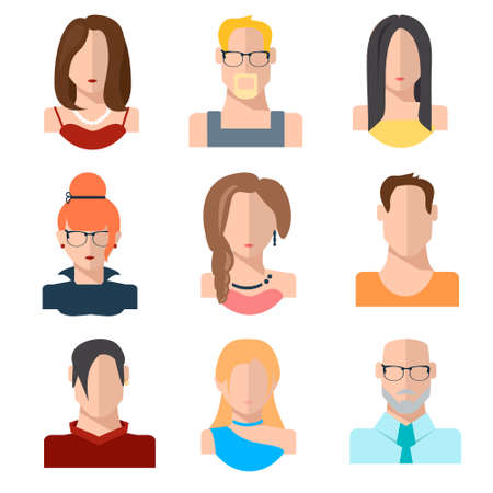 Set of people icons in flat style with faces. Women, men character. Vector illustration of avatars. EPS 10 Ilustração