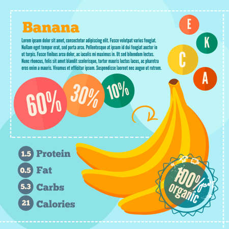 banana leaf food: Infographics banana and vitamins in a flat style. Vector illustration EPS 10 Illustration