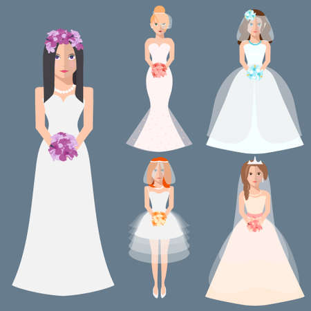 nude bride: Wedding fashion. Collection brides in different dress style. Bridal shower decor set in flat design. Girl, cartoon, woman, silhouette, veil, the brides bouquet. Vector illustration