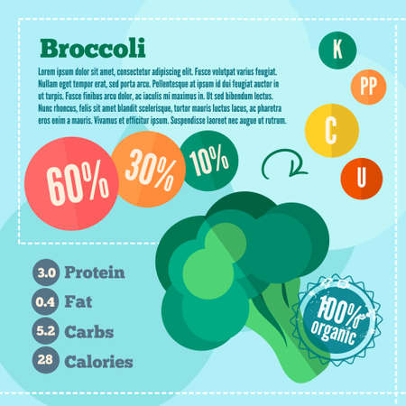 Infographics broccoli and vitamins in a flat style. Vector illustration. EPS 10