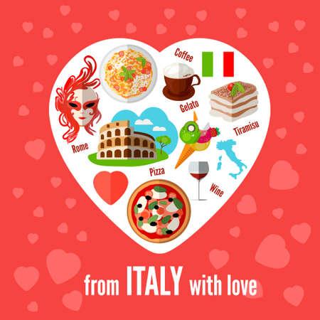 イタリアの愛のベクトルのアイコン、ハート形。ベクトルの図。ピザの要素を持つアイコン パスタ、コロシアム、コーヒー、マスク、ワイン、ティ