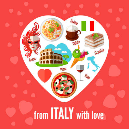 Italian love - heart shape with vector icons. Vector illustration. Icons with elements of pizzas, pastas, Coliseum, coffee, masks, wine, tiramisu, maps of Italy.