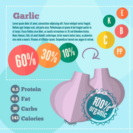 Infographics garlic and vitamins in a flat style. Vector illustration. EPS 10