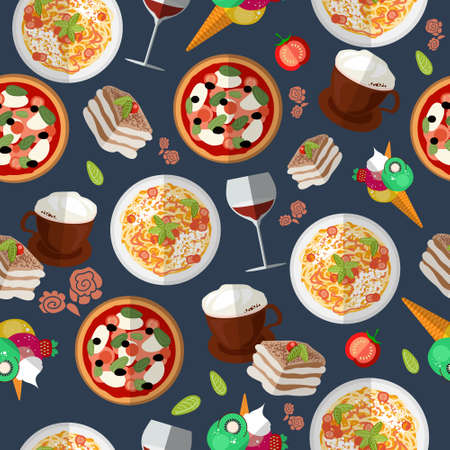 Italian food seamless pattern with elements of food: pizza, pasta, tiramisu, ice cream, cappuccino, wine, tomato. EPS 10. Vector illustration Ilustração
