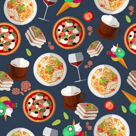 Italian food seamless pattern with elements of food: pizza, pasta, tiramisu, ice cream, cappuccino, wine, tomato. EPS 10. Vector illustration Vettoriali