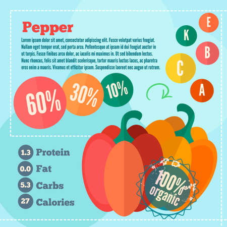 Infographics pepper and vitamins in a flat style. Vector illustration. EPS 10