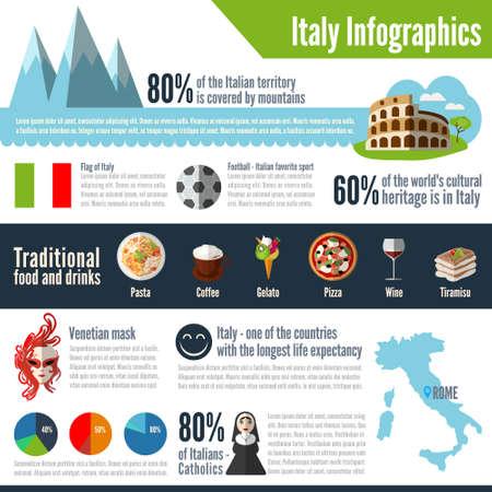 イタリアの色ベクトル インフォ グラフィック。あなたのビジネス、web サイト、プレゼンテーション、広告等のインフォ グラフィックのコンセプト