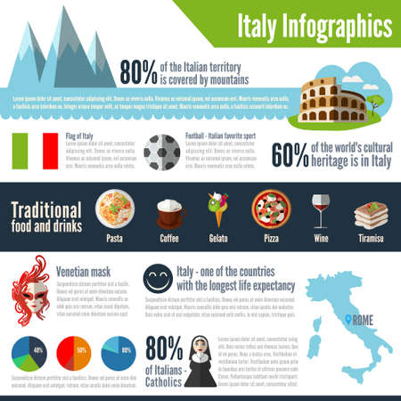 Italy colored vector infographic. The concept of infographics for your business, web sites, presentations, advertising etc. Quality design illustrations, elements and concept. Flat style. EPS 10.