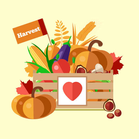 Wooden box with autumn fruits and vegetables. Vector illustration of the autumn harvest. The background of fresh, natural foods. Cart with product buy in supermarket. Diet and organic food template.
