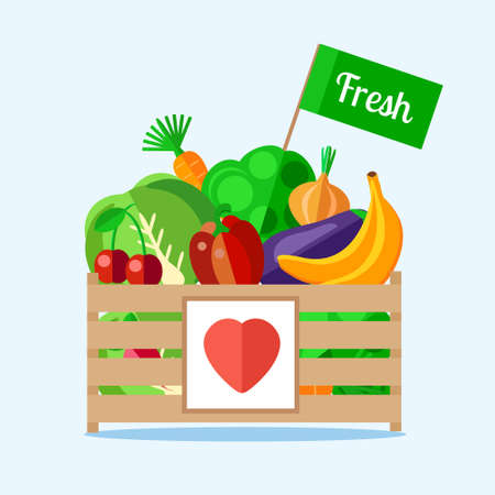 food illustration: Wooden box with vegetables and fruits in a flat style. The background of fresh, natural foods. Cart with product buy in supermarket. Vector illustration.