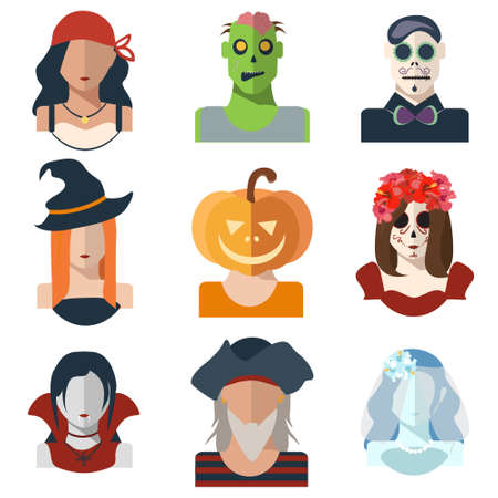 wiedźma: Halloween i Dzień żywych trupów avatar ikon w stylu mieszkania. Wektor znaków: piraci, czarownice, zombie, dyni, wampir, żyje panna młoda, Katrina, make-up dzień zmarłych. Zestaw ilustracji ikony. EPS 10