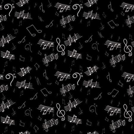 bass clef: Modelo inconsútil de las notas musicales con elementos dibujados a mano de clave de sol, clave de fa, notas. Ilustración del vector.