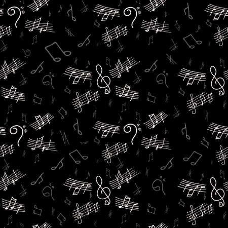 bass clef: Seamless pattern of musical notes with hand drawn elements of treble clef, bass clef, notes. Vector illustration.
