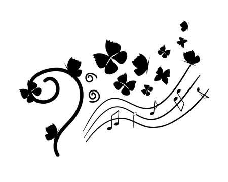 bass clef: Música Negro clave de fa con el elemento de notas sobre la duela, mariposas. Ilustración del vector.
