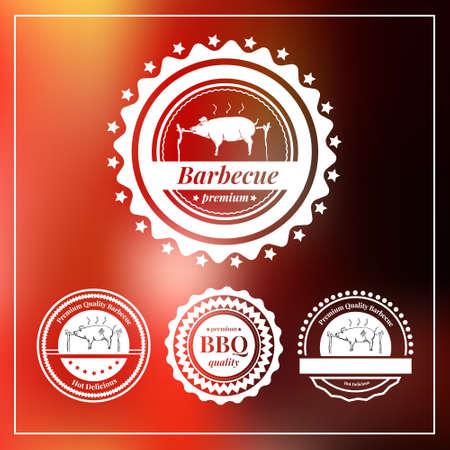 cerdo caricatura: Conjunto de insignias y etiquetas elementos para restaurante. Ilustración del vector. Vectores