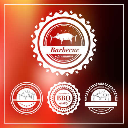 pig roast: Set of badges and labels elements for restaurant. Vector illustration.
