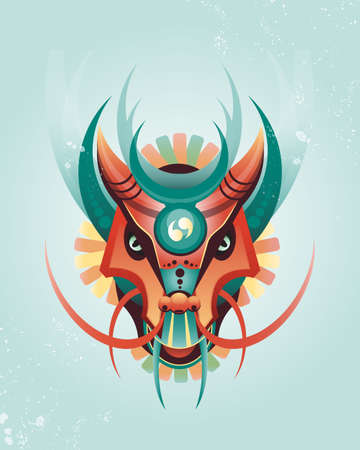 tradition art: Mascot magical geometric dragon in east style. Vector illustration. Fantasy characters Illustration